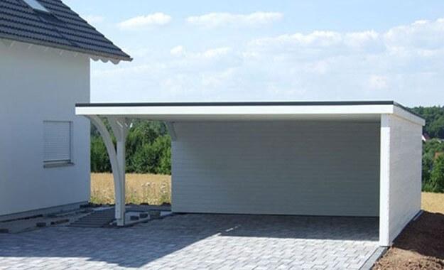 Pérgolas de madera_Modernos porches para coche con tejado plano